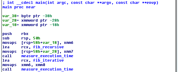 Start of main() on x64 generated by Visual Studio 2015
